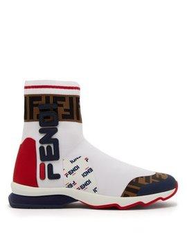 Mania Ff Logo Sock Boots by Fendi