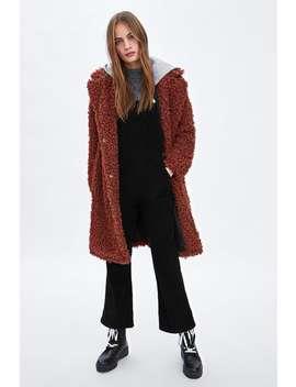 Contrasting Hooded Faux Shearling Coat  Outerweartrf by Zara