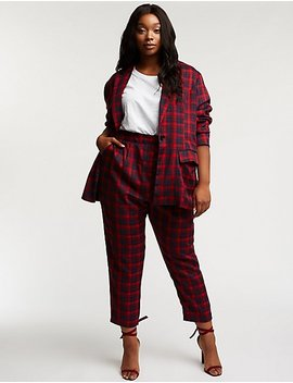 Plus Size Plaid Trousers by Charlotte Russe