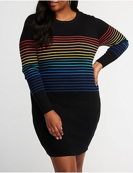 Plus Size Rainbow Striped Sweater Dress by Charlotte Russe