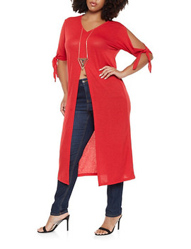 Plus Size Slit Front Maxi Top With Necklace by Rainbow