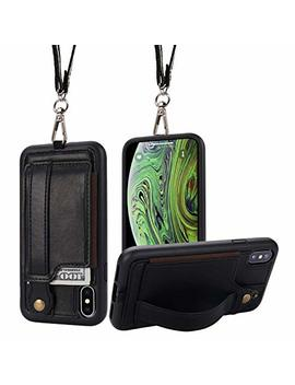 I Phone X/Xs Wallet Case Phone Lanyard Neck Strap Toovren I Phone Xs / 10 Protective Case Cover With Stand Leather Pu Card Holder Adjustable Detachable I Phone Lanyard For Anti Theft And Activity Black by Toovren