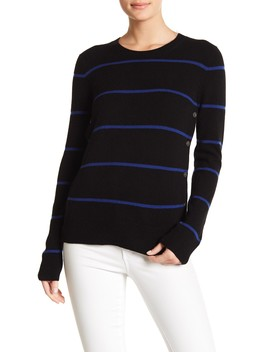 Jenny Button Detailed Striped Cashmere Sweater by Equipment