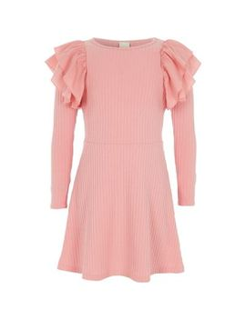 Girls Pink Frill Ribbed Midi Dress by River Island