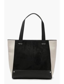Mixed Texture Structured Tote by Boohoo