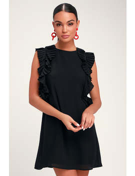 We Got The Pleat Black Statement Sleeve Shift Dress by Lulus