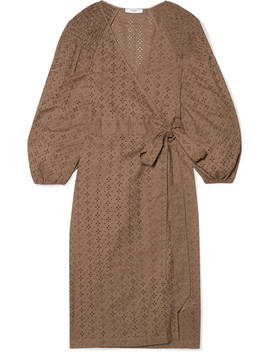 Pink Sands Broderie Anglaise Cotton Wrap Dress by Marysia