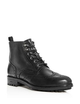 Men's Maraq Leather Wingtip Boots by Kenneth Cole
