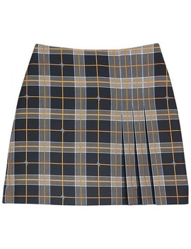 Pleat Detail Check Mini Skirt by Burberry