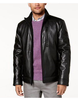Men's Faux Leather Jacket, Created For Macy's by Calvin Klein