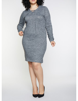 Plus Size Lace Up Sweater Dress by Rainbow