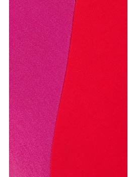 Asymmetric Two Tone Stretch Crepe Midi Dress by Cushnie