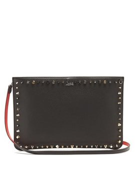 Loubi Stud Embellished Leather Clutch by Christian Louboutin