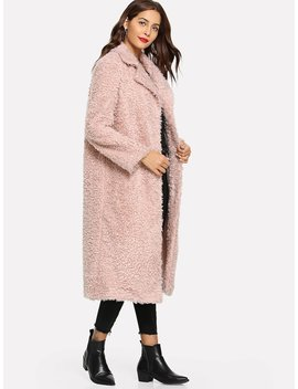 Single Breasted Teddy Longline Coat by Shein