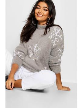 Premium Embellished Feather Knit Jumper by Boohoo