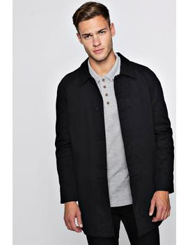 Single Breasted Button Through Cotton Mac by Boohoo