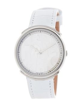 Women's Logomania Croc Embossed Leather Watch, 35mm by Salvatore Ferragamo
