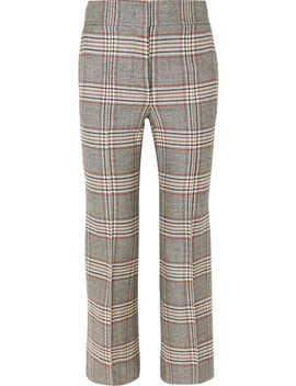 Checked Wool Flared Pants by Joseph