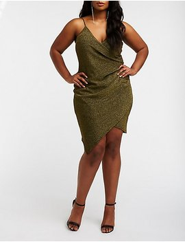 Plus Size Glitter Wrap Bodycon Dress by Charlotte Russe