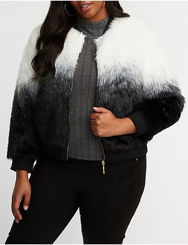 Plus Size Striped Faux Fur Jacket by Charlotte Russe