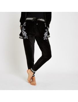 Black Floral Embroidered Loungewear Joggers by River Island
