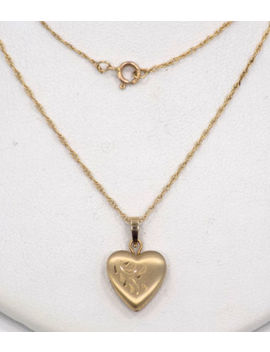 "14k Solid Yellow Gold Engraved Heart Locket W/Initial ""D"" On Back ~ 19"" ~ 2.2 Gr by Ebay Seller"