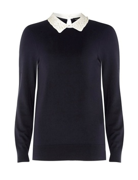 Navy Pearl Collar 2 In 1 Jumper by Dorothy Perkins