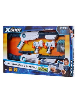 Zuru X Shot 2x Hawk Eye With Scope & 2x Micro Blasters And 24 Darts by X Shot