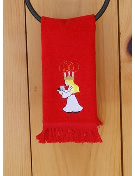 Scandinavian Swedish  Embroidered Saint Lucia Towel #Ft37 by Etsy