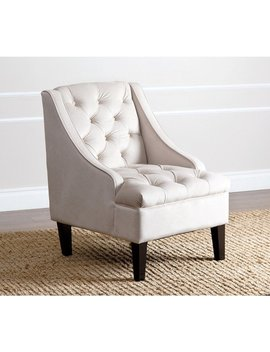 Abbyson Laguna Tufted Velvet Ivory Accent Chair by Abbyson
