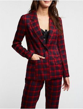 Plaid Tailored Blazer by Charlotte Russe