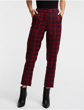 Plaid Slim Trousers by Charlotte Russe