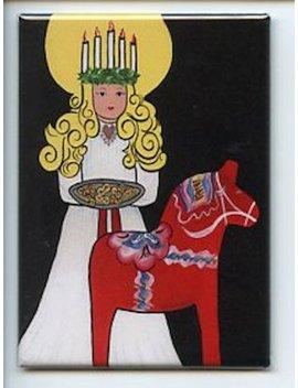Swedish Lucia & Dala Horse Magnet #Rem324 by Etsy