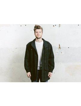 Men Wool Blend Coat . Vintage 90s Green Parka Jacket Oversized Jacket Mens Long Coat 80s Outerwear . Size Large L by Etsy