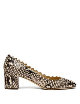 Lauren Scalloped Edge Python Effect Leather Pumps by Chloé