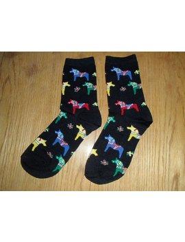 Swedish Dala Horse Black Socks   Acrylic   Size Medium #26489 by Etsy