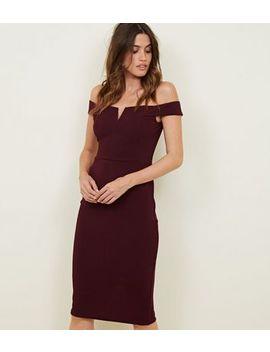 Ax Paris Dark Purple Bardot Dress by New Look