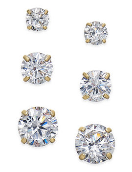 Cubic Zirconia 3 Pc. Set Graduated Stud Earrings In 14k Gold Or 14k White Gold by Macy's