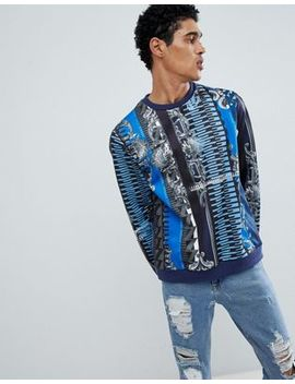 Versace Jeans Sweatshirt In Blue Baroque Print by Versace Jeans