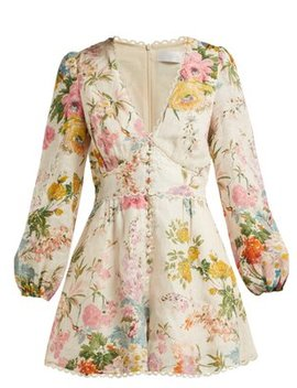 Heathers Floral Print Linen Playsuit by Zimmermann