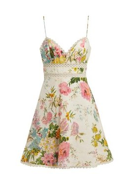 Heathers Floral Print Linen Mini Dress by Zimmermann