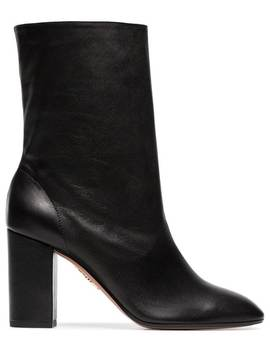 Black 'boogie 85' Scrunch Leather Boot by Aquazzura