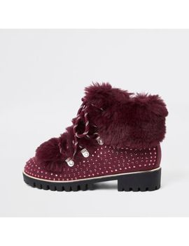 Girls Dark Red Studded Faux Fur Lined Boots by River Island