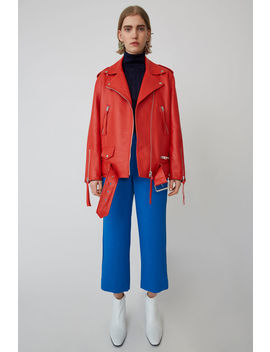 Oversized Leather Jacket Coral Red by Acne Studios