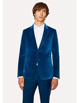 Men's Slim Fit Blue Velvet Blazer by Paul Smith