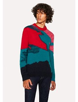 Men's Multi Coloured Camouflage Mohair Blend Sweater by Paul Smith