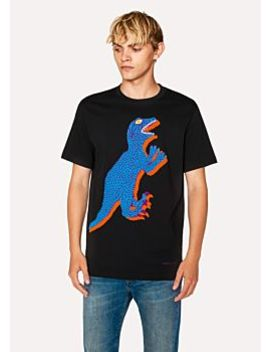 Men's Black Large 'dino' Print Cotton T Shirt by Paul Smith
