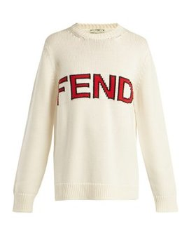 Logo Knitted Wool Sweater by Fendi