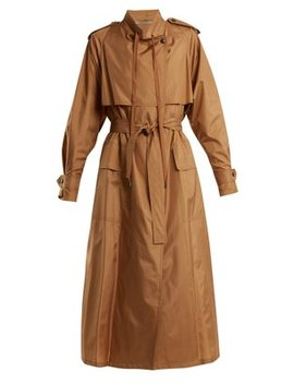 Tie Waist Silk Blend Taffeta Trench Coat by Bottega Veneta