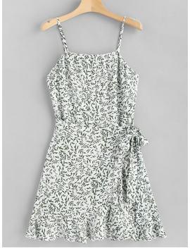 Leaves Overlap Slip Dress   White L by Zaful